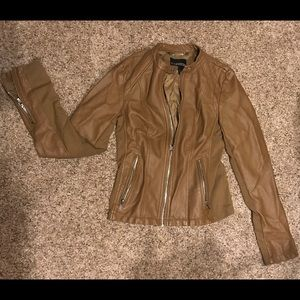 Brown Express faux leather jacket